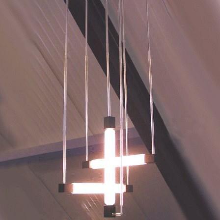 Drie-buizenlamp van Gerrit Rietveld. Deze lamp hangt o.a. in het Rietveld-Schröderhuis.