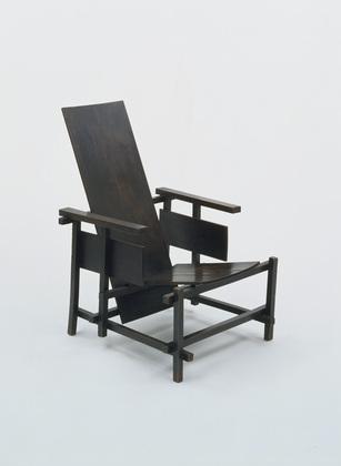 Prototype van de rood-blauwe stoel van Rietveld