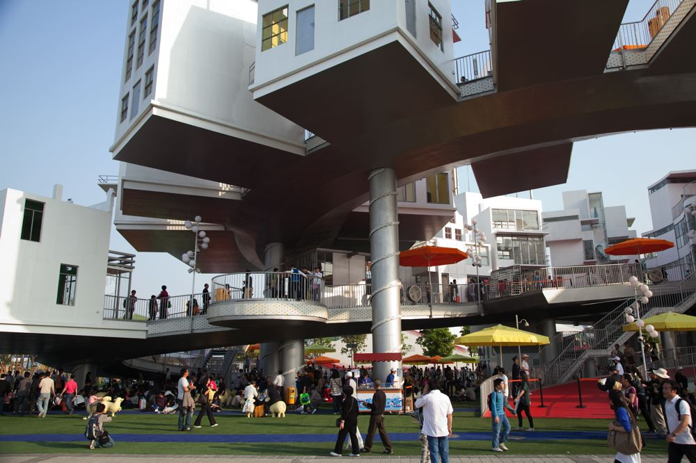 Happystreet, het Nederland paviljoen op de Wereld Tentoonstelling in Shanghai.