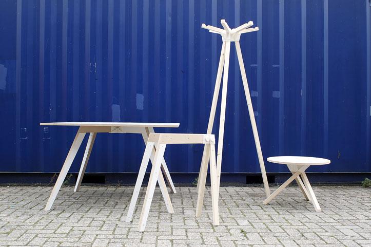 Keystones van Minale maeda. 3D geprinte verbindingsstukken waarmee je zelf meubels kunt maken.