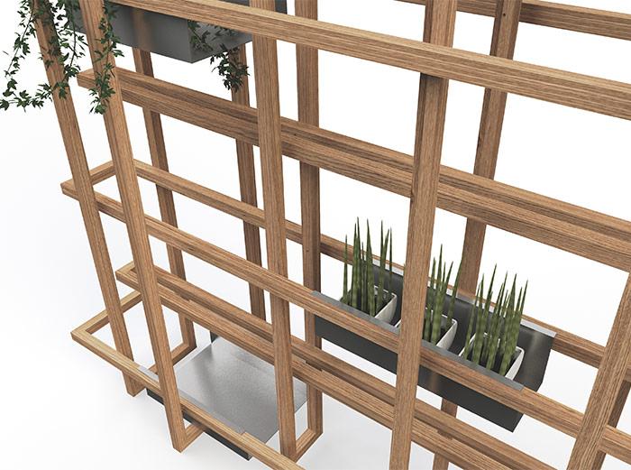 Detail van de kast. De plantenbakken zijn optioneel.
